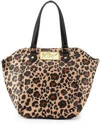 beige Shopper Tasche aus Leder mit Leopardenmuster