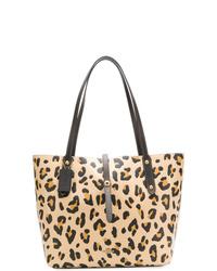 beige Shopper Tasche aus Leder mit Leopardenmuster von Coach