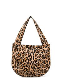 beige Shopper Tasche aus Leder mit Leopardenmuster von P.A.R.O.S.H.
