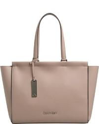 beige Shopper Tasche aus Leder von Calvin Klein