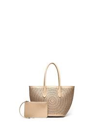 beige Shopper Tasche aus Leder von COLLEZIONE ALESSANDRO