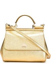 Beige Shopper Tasche aus Leder von Dolce & Gabbana