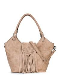 beige Shopper Tasche aus Leder von EMILY & NOAH