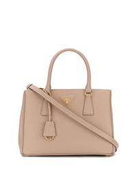 beige Shopper Tasche aus Leder von Prada