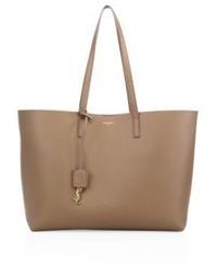 Beige Shopper Tasche aus Leder von Saint Laurent