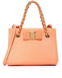 beige Shopper Tasche aus Leder von Salvatore Ferragamo