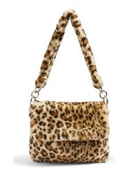 beige Shopper Tasche aus Pelz mit Leopardenmuster