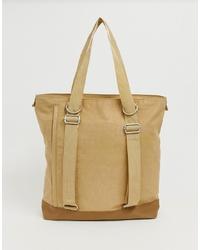 beige Shopper Tasche aus Segeltuch von ASOS WHITE