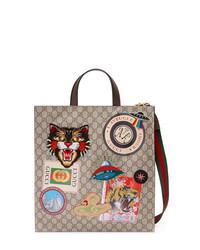 beige Shopper Tasche aus Segeltuch von Gucci