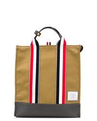 beige Shopper Tasche aus Segeltuch von Thom Browne