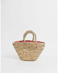 beige Shopper Tasche aus Stroh von ASOS DESIGN