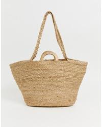 beige Shopper Tasche aus Stroh von Mango