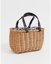 beige Shopper Tasche aus Stroh von New Look