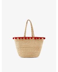 beige Shopper Tasche aus Stroh von Pieces