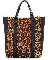 beige Shopper Tasche aus Wildleder mit Leopardenmuster