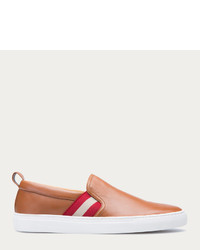 beige Slip-On Sneakers aus Leder