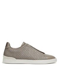 beige Slip-On Sneakers aus Leder von Ermenegildo Zegna