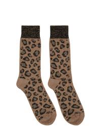 beige Socken mit Leopardenmuster von Versace