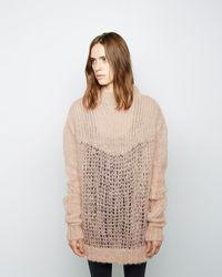 beige Strick Oversize Pullover