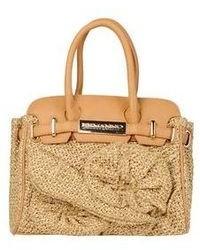 beige Strohhandtasche