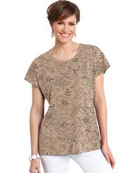 beige T-Shirt mit einem Rundhalsausschnitt mit Blumenmuster von CLASSIC BASICS