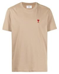 beige T-Shirt mit einem Rundhalsausschnitt von Ami Paris
