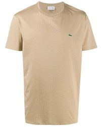 beige T-Shirt mit einem Rundhalsausschnitt von Lacoste