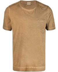 beige T-Shirt mit einem Rundhalsausschnitt von Massimo Alba