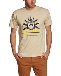 beige T-Shirt mit einem Rundhalsausschnitt