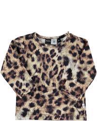 Beige T-shirt mit Leopardenmuster