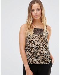 beige Trägershirt mit Leopardenmuster