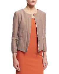 beige Tweed-Jacke