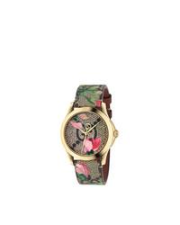 beige Uhr mit Blumenmuster von Gucci