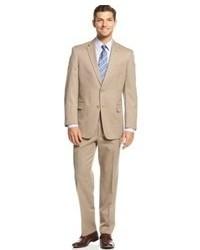 beige vertikal gestreifter Anzug