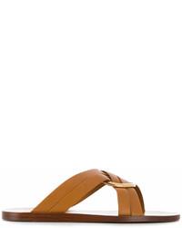 beige verzierte flache Sandalen aus Leder von Chloé