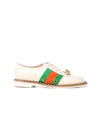 beige verzierte Leder niedrige Sneakers von Gucci