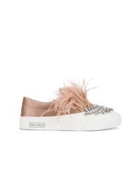beige verzierte Slip-On Sneakers von Miu Miu