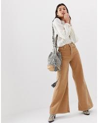 beige weite Hose aus Jeans von Free People