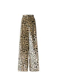 beige weite Hose aus Leder mit Leopardenmuster von Michel Klein