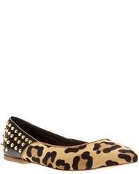 beige Wildleder Ballerinas mit Leopardenmuster