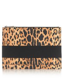 beige Wildleder Clutch mit Leopardenmuster von Givenchy