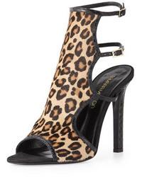 Leopardenmuster Wildleder Mit Sandaletten Kombinieren Beige AjL3R54