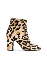 beige Wildleder Stiefeletten mit Leopardenmuster von P.A.R.O.S.H.