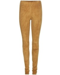 Beige Wildlederleggings