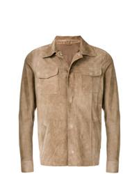 beige Shirtjacke aus Wildleder von Eleventy