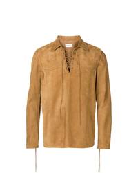beige Shirtjacke aus Wildleder von Saint Laurent