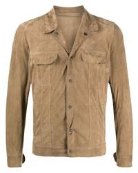 beige Shirtjacke aus Wildleder von Salvatore Santoro