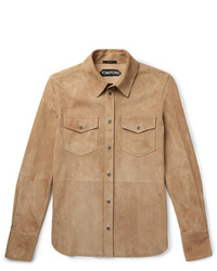 beige Shirtjacke aus Wildleder von Tom Ford
