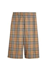 beige Wollbermuda-shorts mit Karomuster von Burberry