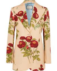 beige Wollsakko mit Blumenmuster von Gucci